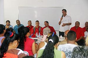 El Alcalde, Alexis Toledo, acompañado del candidato del GPP, M/G Carlos Alcalá Cordones y otros dirigentes de la revolución