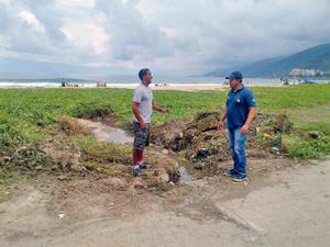 Figueroa en compañía de Báez realizó un recorrido en Playa Los Cocos